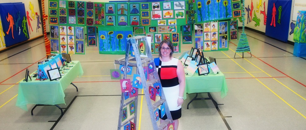 Mrs. Miller with Art Show Display June 2015