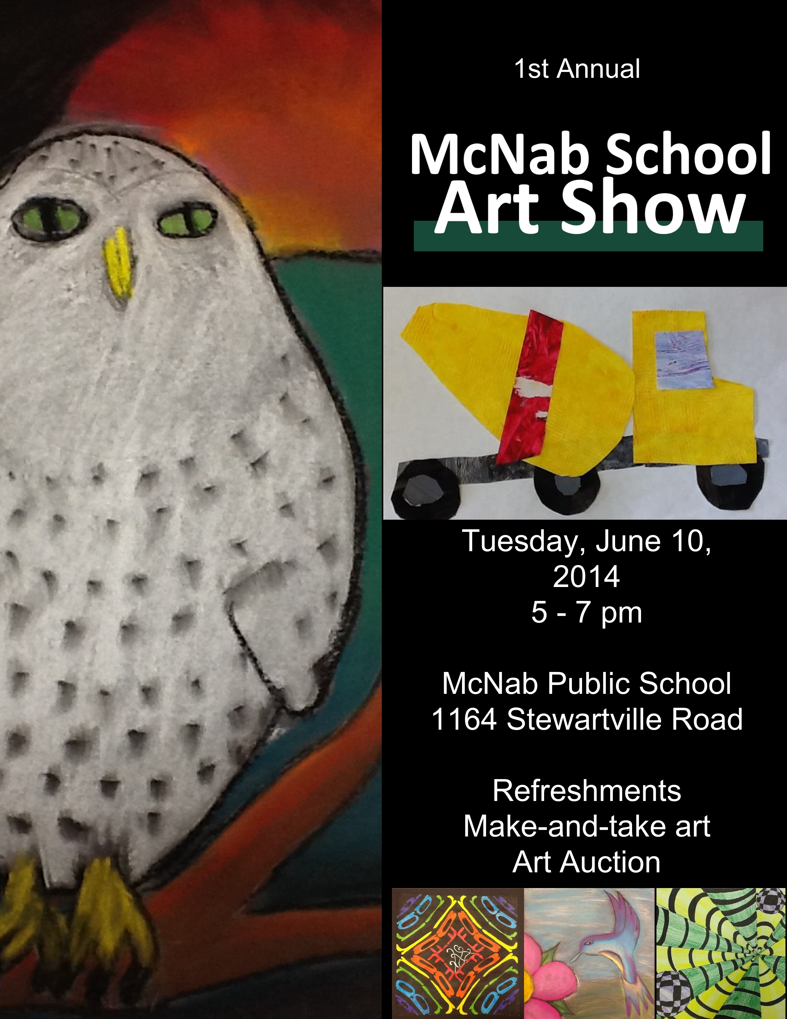 Art Show Poster indicating McNab's upcoming art show