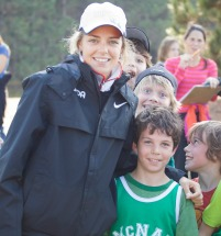 A local team Canada runner poses with a McNab cross-country runner
